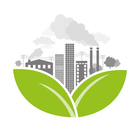 deforestation: Polluted City - Illustration Illustration