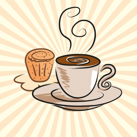 Coffee and cake Illustration