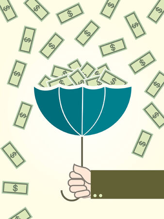 person falling: Money and umbrella - Illustration Illustration
