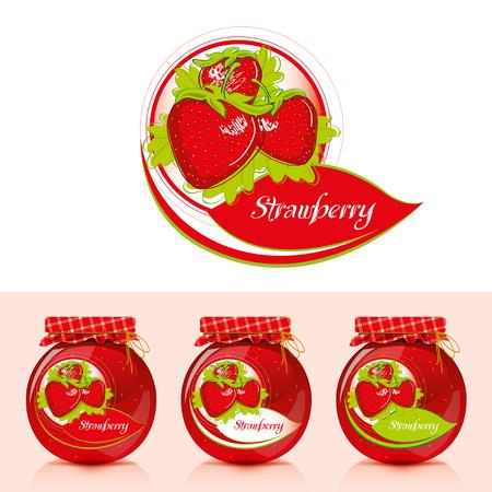 Strawberry Jam Label With Jar - Illustration Vector