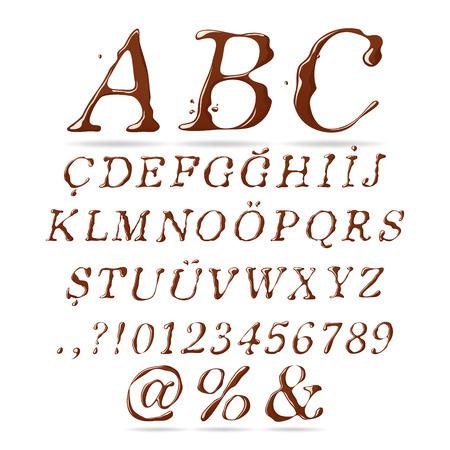 italic: Chocolate Alphabet Upper Case Italic Illustration