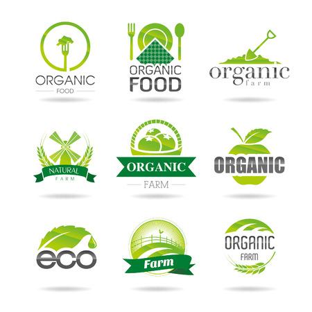 Ecología, orgánico, granja icono fijó Eco-iconos