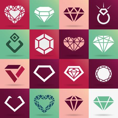 coeur en diamant: Icônes vectorielles diamant serti Illustration