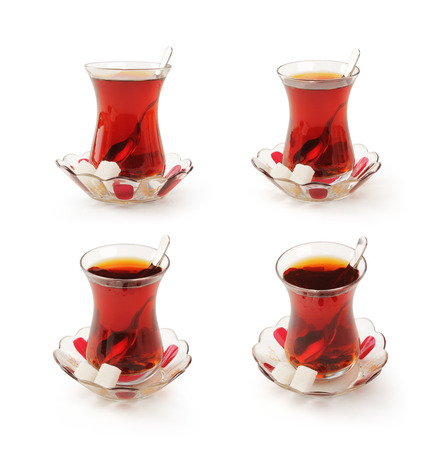 tea spoon: Turkish tea cup set with clipping path  Stock Photo