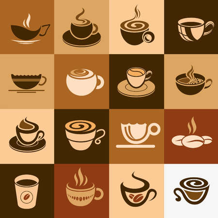Coffee and tea cup set, vector icon collection