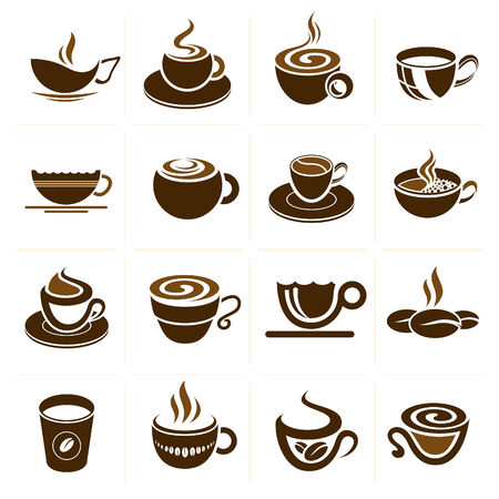 brand label: Coffee and tea cup set, vector icon collection