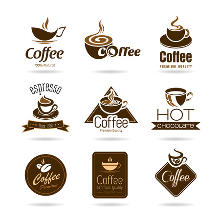 hot coffee: Set of coffee badges and icon