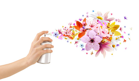 Flower-scented room sprays and flowers from inside