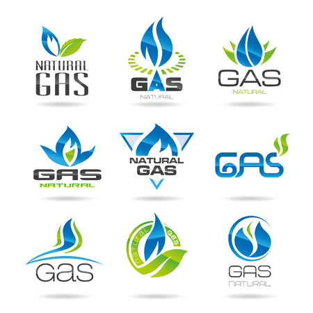 blue flame: Gas industry symbols-icon