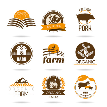old tractors: Farm and butcher shop icon set Illustration