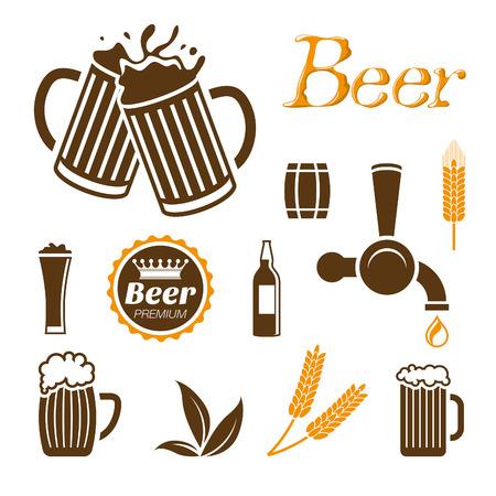 beer drinking: Beer icon set