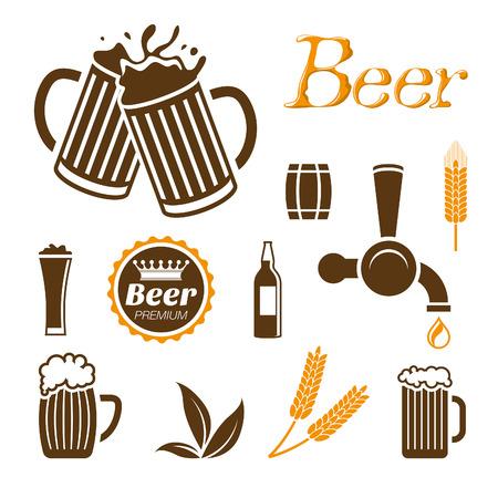 vasos de cerveza: Conjunto de iconos de la cerveza