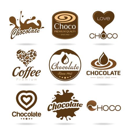 chocolate drops: Chocolate and coffee icon design - sticker Illustration