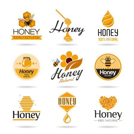 with pollen: Honey icon set Illustration