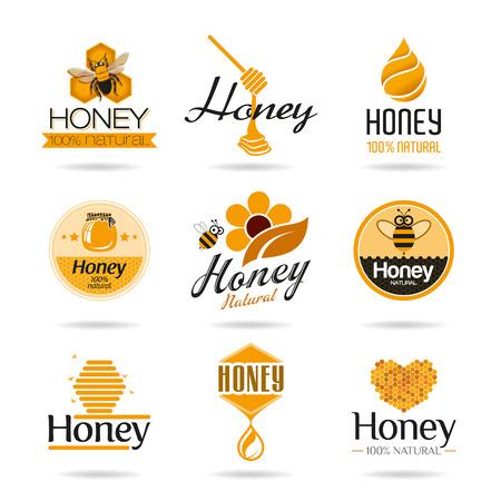 abejas panal: Miel icon set