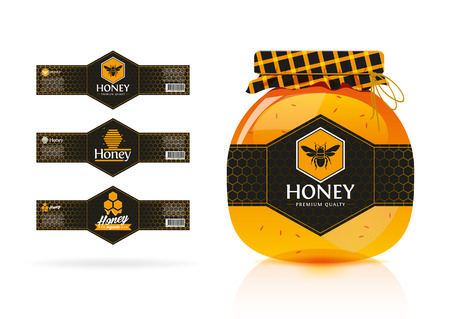 honey jar: Honey banner - sticker design Illustration