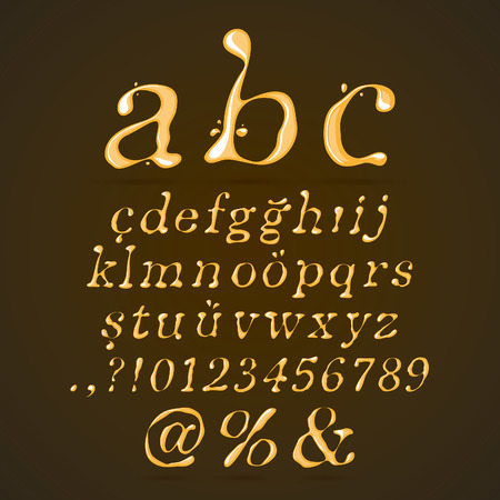 caramel sauce: Beer, Honey and Caramel Alphabet Lower Case Italic