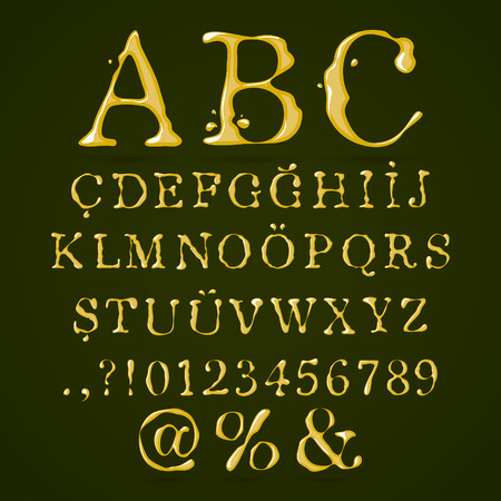 Olive oil alphabet upper case  Vector