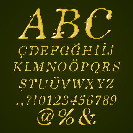 Olive oil alphabet upper case italic Vector