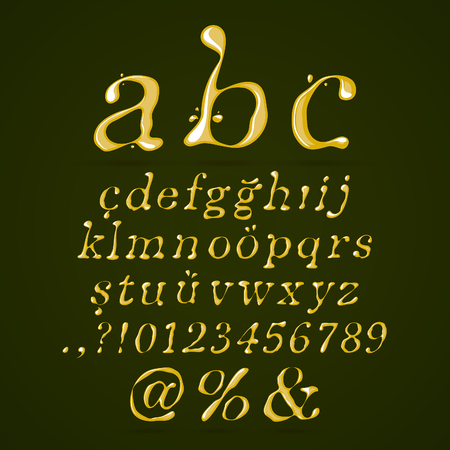 Olive oil alphabet lower case italic Vector