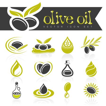 Olive oil icon set Illustration