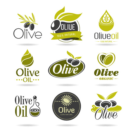 Oliva icono aceite conjunto Vectores