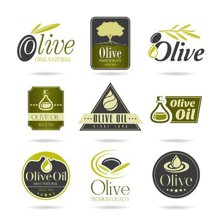 aceite de oliva: Oliva icono aceite conjunto Vectores