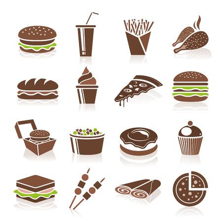 sandwich de pollo: Iconos de comida r�pida Vectores