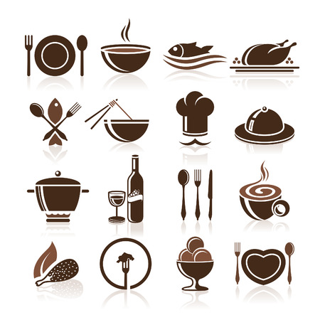 meal preparation: Cooking and kitchen icon set Illustration