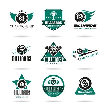 Billiards and snooker icons set - 3 Ilustração