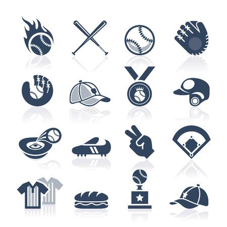 baseball bat: Baseball icon set