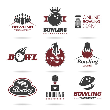 Bowling icon set - 3 Vector