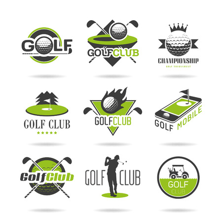 pelota de golf: Golf icon set Vectores