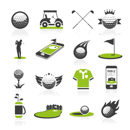 golf stick: Golf icon set Illustration