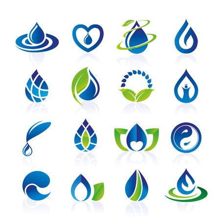 water on leaf: Water icon set Illustration