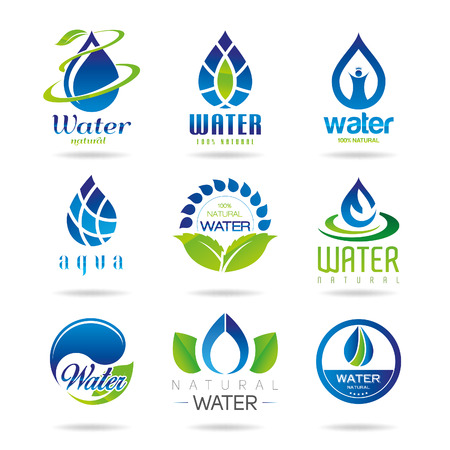 wet leaf: Water icon set - 3