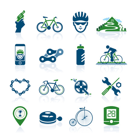 bicycle gear: Bicycle icon set