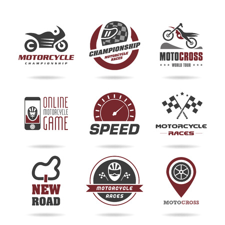 racer flag: Motorcycle racing icon set - 3 Illustration