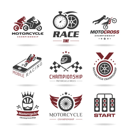 racer flag: Motorcycle racing icon set - 2