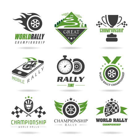 Rally icon set, sports icons - 3 일러스트
