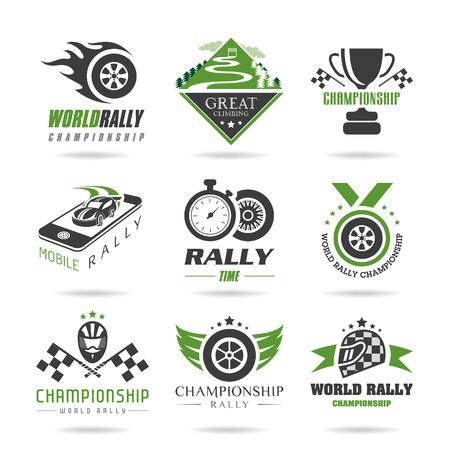 Rally icon set, sports icons - 3 Vettoriali