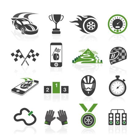 Rallye icône ensemble, icônes sportives Vecteurs