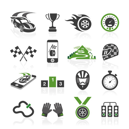 Rally icon set, sports icons