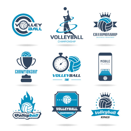 Volleyball icon set - 2 Vector