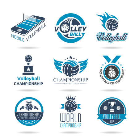 Volleyball icon set - 3 Vector