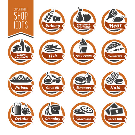 Supermarket Shelf Icon Set Vector