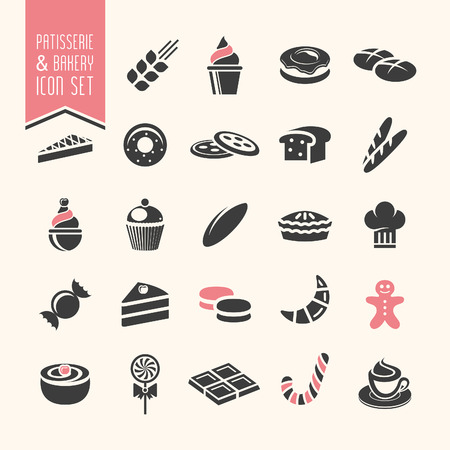 french bakery: Bakery, pastry icon set
