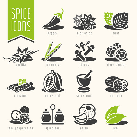 especias: Especias icono conjunto