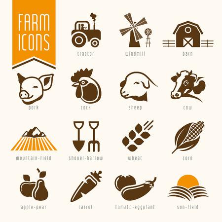 Carnicería: Granja y carnicero icono tienda de conjunto Vectores