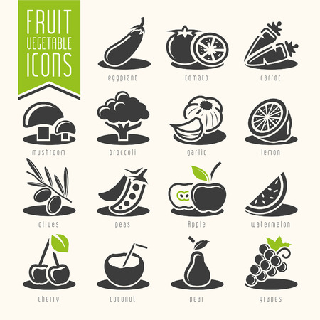 Fruit and Vegetable Icon Set Vetores
